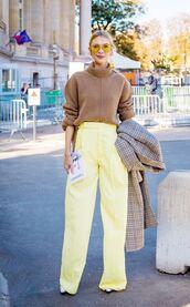 sweater,tumblr,camel,camel sweater,turtleneck,turtleneck sweater,pants,wide-leg pants,yellow,yellow pants,sunglasses,streetstyle