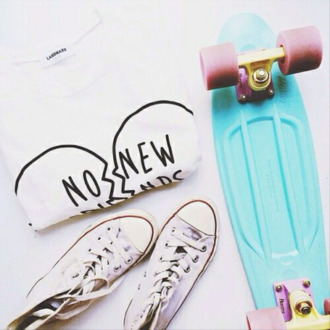 shirt crewneck white broken heart penny board converse black pink blue no new friends shoes t-shirt no new
