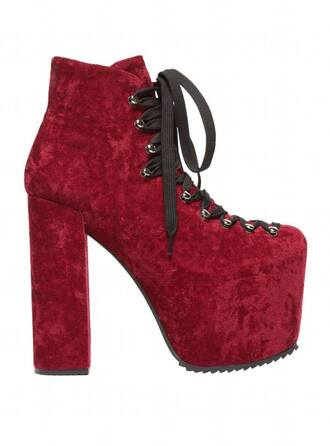shoes unif hellbounds red velvet high heels