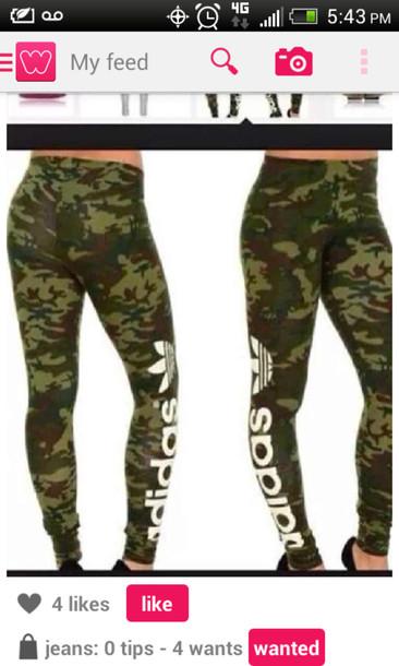 7da91ba21d54ba pants cute camouflage camo pants adidas tights green verde white high  waisted jeans crystal westbrooks tufted