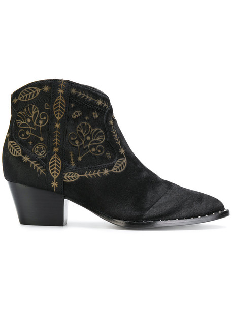 fur women ankle boots leather black shoes