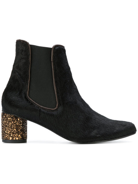 STINE GOYA glitter fur women ankle boots leather black shoes