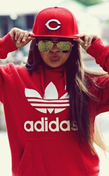 adidas cap sunglasses hoodie red hoodie print adidaswomen