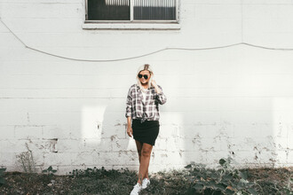 wild one forever - fashion & style by kristin blogger top skirt shoes sunglasses jewels plaid shirt mini skirt sneakers