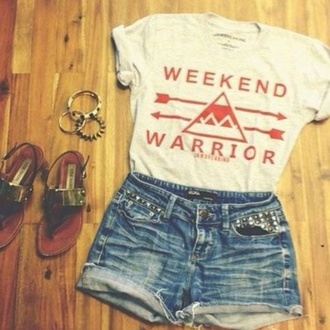 shirt wholeoutfit orange weekendwarrior shortshorts sandals