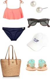 swimwear,pink,navy,bag,beach,vineyard vines,gold,hat