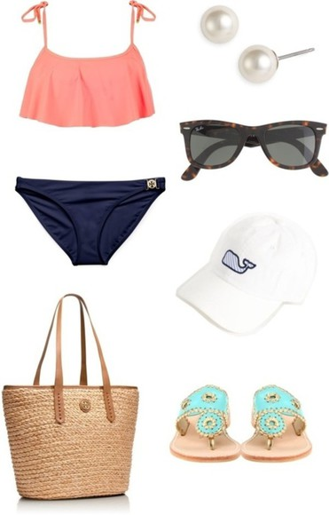 swimwear bathing suit beach pink navy blue bag vineyard vines gold