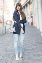 andy sparkles,blogger,cardigan,ripped jeans,silver shoes,shoes,silver,flats