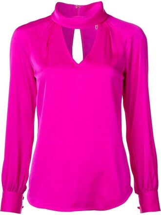 blouse cut-out women spandex silk purple pink top