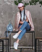 jacket,tumblr,pink jacket,bomber jacket,pink bomber jacket,satin bomber,jeans,denim,blue jeans,sneakers,white sneakers,bag,blue bag,bucket bag,sweater,sleeveless turtleneck sweater,grey sweater,turtleneck,cap,hat,pink baseball hat