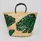 Green sequin palm leaf basket bag