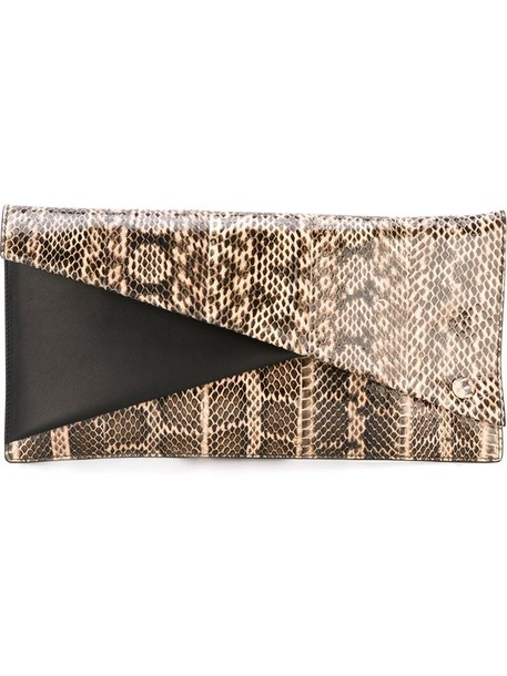 snake women snake skin clutch leather nude bag