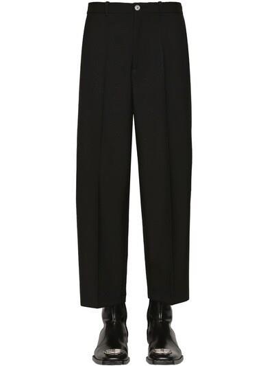 BALENCIAGA Cropped Wool Gabardine Trousers Black
