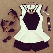 tank top,peplum,black and white,peplum top,blouse,black,white,shirt,white peplum top,shoes,top,dress
