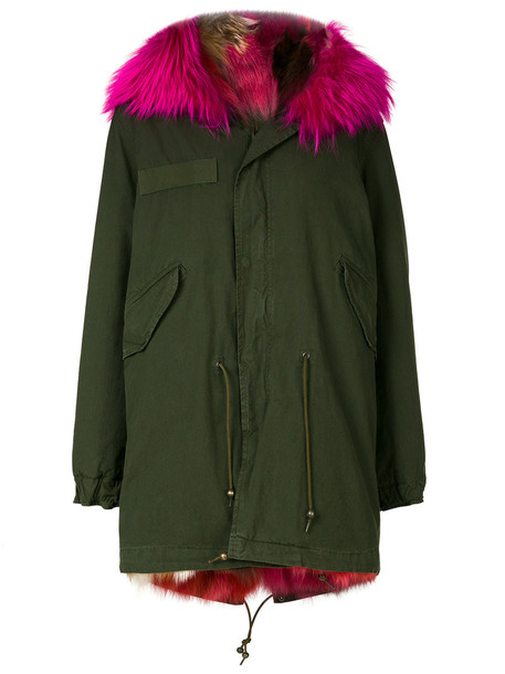 coat parka short fur fox women cotton green