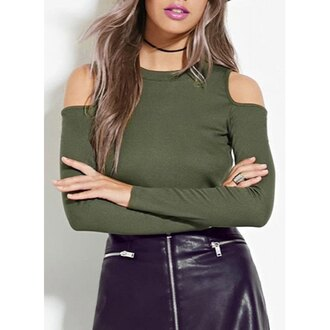 top army green off the shoulder trendy stylish rose wholesale girly fashion green long sleeves cut out shoulder