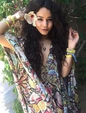 dress,boho,boho chic,bohemian,coachella,vanessa hudgens,instagram,bracelets,boho dress,color/pattern,flowers,summer,beach