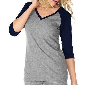 top grey black long sleeves simple style v-neck 3/4 sleeve color spliced pullover baseball t-shirt for women fashion style trendy rose wholesale-dec