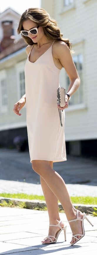 dress nude slip dress slip dress nude dress summer outfits summer dress sandals nude sandals high heel sandals sunglasses white sunglasses pink slip dress blush pink spaghetti strap spaghetti straps dress bag pink dress