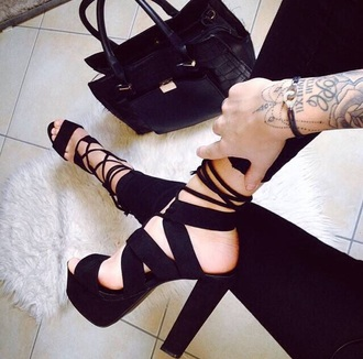 high lace-up heels high heels heels platform shoes platform high heels platform heels open toes black heels black shoelace lace up lace-up shoes strappy sandals strappy heels strappy