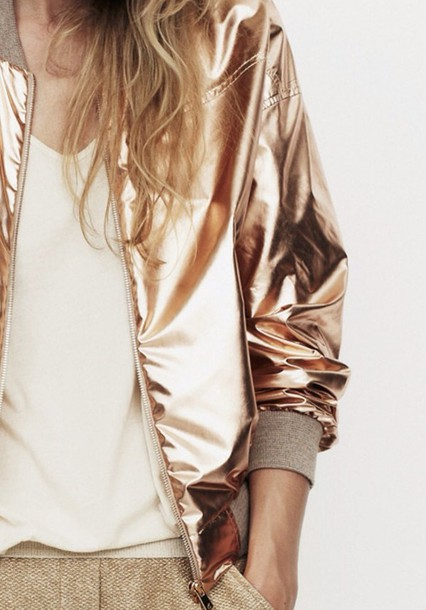 jacket bomber jacket metallic gold