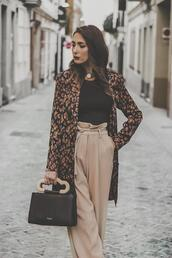 shoes and basics,blogger,dress,top,pants,bag,shoes,handbag,nude pants,floral coat,fall outfits