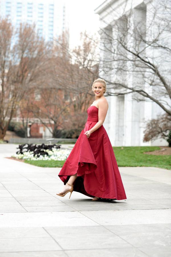 White House Black Market Strapless High Low Taffeta Gown