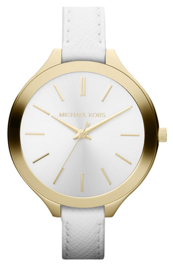 Michael kors 'slim runway' leather strap watch, 42mm