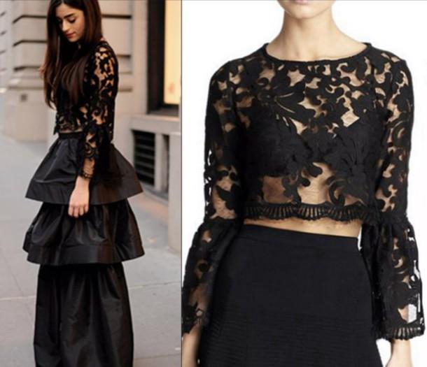 ded240d1246 top, sheer top, sheer long sleeve top, black lace top, black, sheer ...