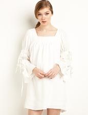 dress,white sleeve tie baby doll dress,babydoll dress,white dress,summer dress,spring dress,sleeve tie dress,special occasion dress