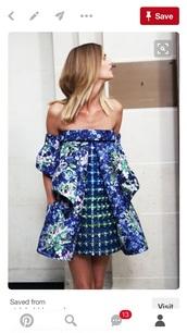 dress,strapless dress,blue dress,floral dress