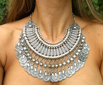 jewels necklace fashion necklace statement necklace silver jewelry