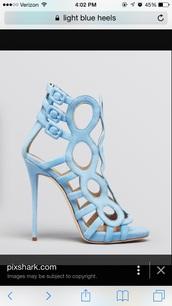 shoes,blue,sky blue,baby blue,light blue,strappy,blue heels,buckles,strappy heels,blue heels shoes high