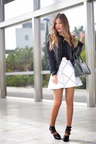 skirt jacket checkered white skirt skater skirt black leather jacket blogger lookbook