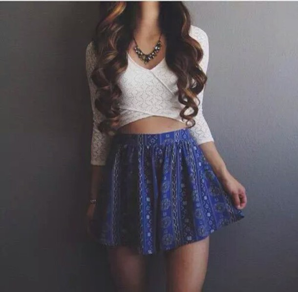 Skirt shirt white long sleeves lace summer tumblr tumblr outfit crop crop tops - Wheretoget
