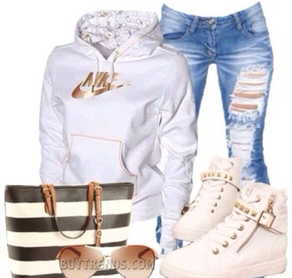 shoes white nike hoodie white studded nike shoes blue ripped skinny jeans white studded shoes studded jeans jacket sweater shirt bag and bracelets necklace earrings high heel hoodie old school