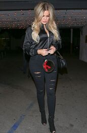 jacket,jeans,bomber jacket,khloe kardashian,all black everything,ripped jeans