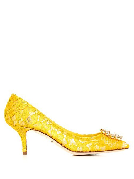 DOLCE & GABBANA Crystal-embellished lace pumps in yellow