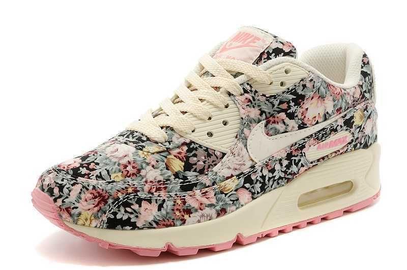 ladies nike air max 90 floral jasmine trainers nero pink