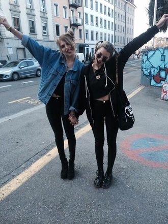jacket jeans blue denim denim jacket blue jacket hipster blogger cool style style stylish fashion coat oversized shoes shirt tumblr grunge girl teenagers aesthetic black all black everything black clothes clothes tumblr clothes jacke asos
