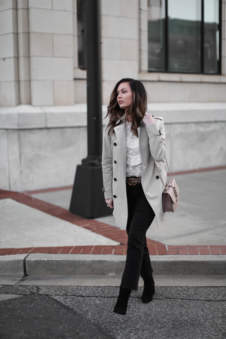 for all things lovely blogger coat top shoes sunglasses bag belt trench coat valentino bag gucci belt lace top
