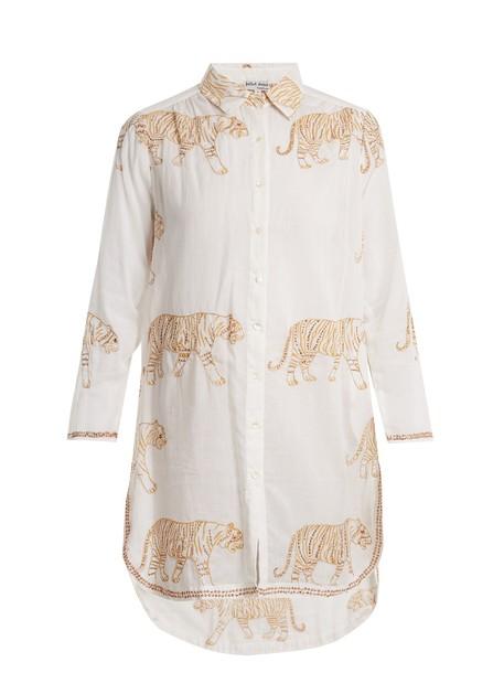 Juliet Dunn shirt tiger cotton print white top