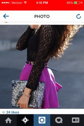 bag,sparkle,purple,skirt,black,shirt,t-shirt