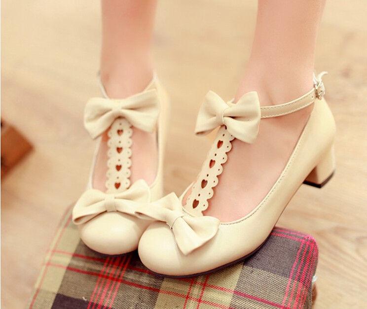 Womens Girl Low Heel Pump Lolita Bowknot Mary Janes School ... 16371882a