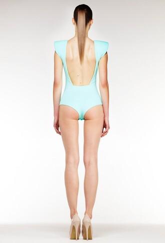 jumpsuit padded shoulders bodycon bodysuit backless aq aq aqua aqua blue cut-out aqua by aqua