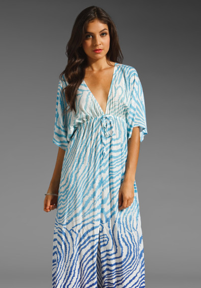 v-neck dress loose fit maxi dress empire waist zebra print ombre print half sleeves deep v-neck dress