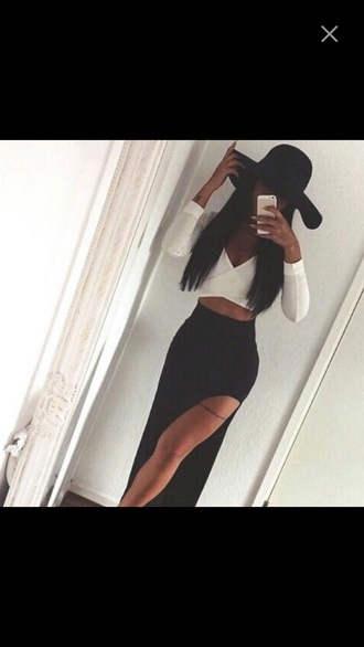 shirt skirt top hat black white white crop tops