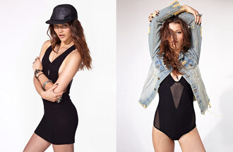 dress nastygal nastygal.com shopnastygal.com denim jacket black dress black cap bodysuit black bodysuit black mesh mesh bodysuit jacket shirt