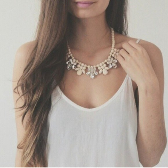 jewels necklace tank top white necklace top white white jewelry white jewel white necklace strass cute girly white top white tank top