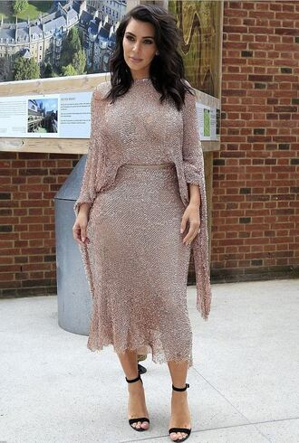 skirt top sparkle sparkly dress kim kardashian kardashians sandals asymmetrical skirt two piece dress set two-piece shoes